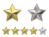 Voting concept. Rating four golden stars. 3D