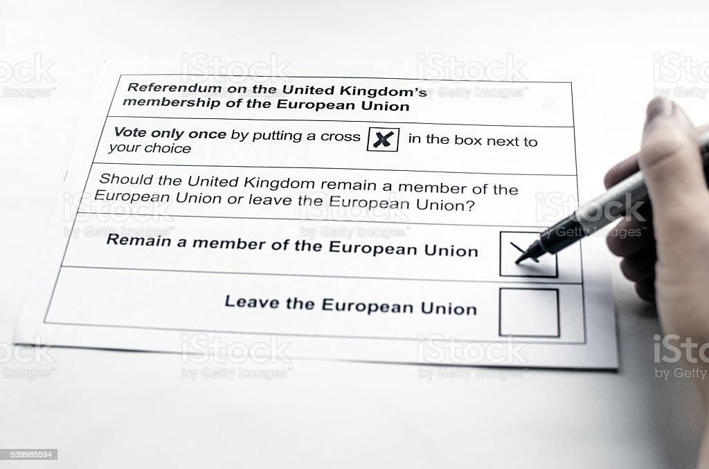 Voting for the EU-Referendum stock photo
