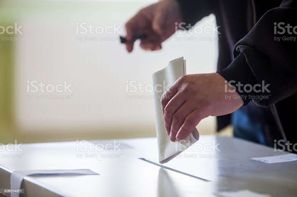 Voting hand stock photo
