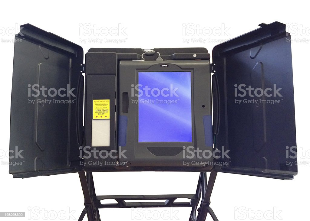 Voting machine isolated on white stock photo