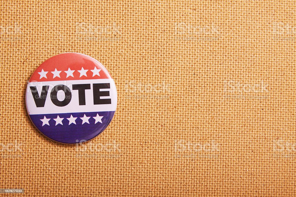 Voting Pin on Bulletin Board royalty-free stock photo