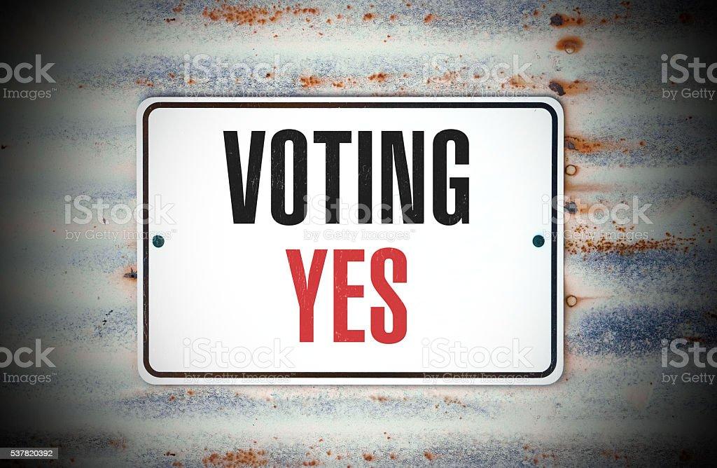 Voting Yes stock photo