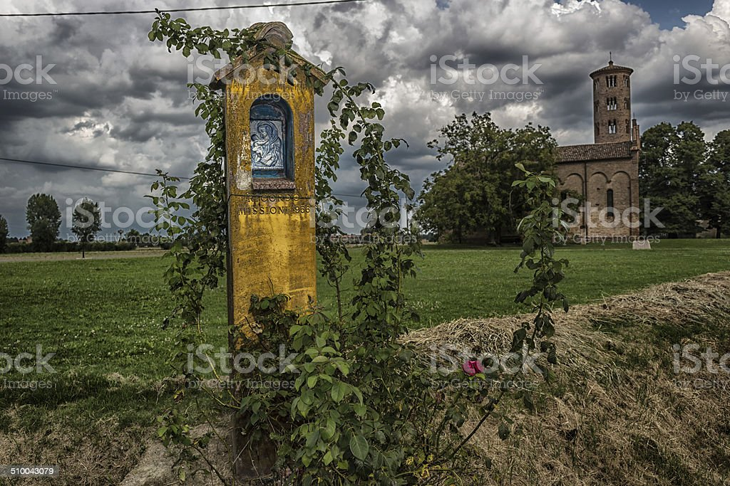 Votive aedicula devoted to the Blessed Virgin Mary stock photo