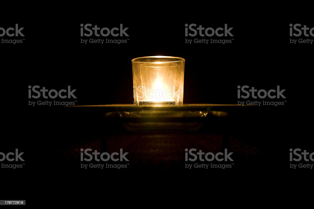 Votive Candle at Night royalty-free stock photo