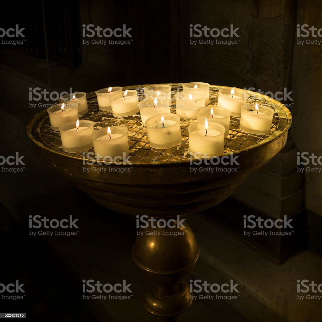 Votive Candles in a Catholic Church, Rome Italy stock photo