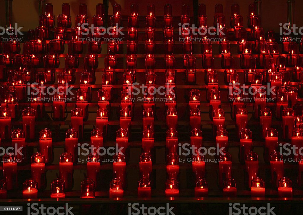 Votive Candles In Church royalty-free stock photo