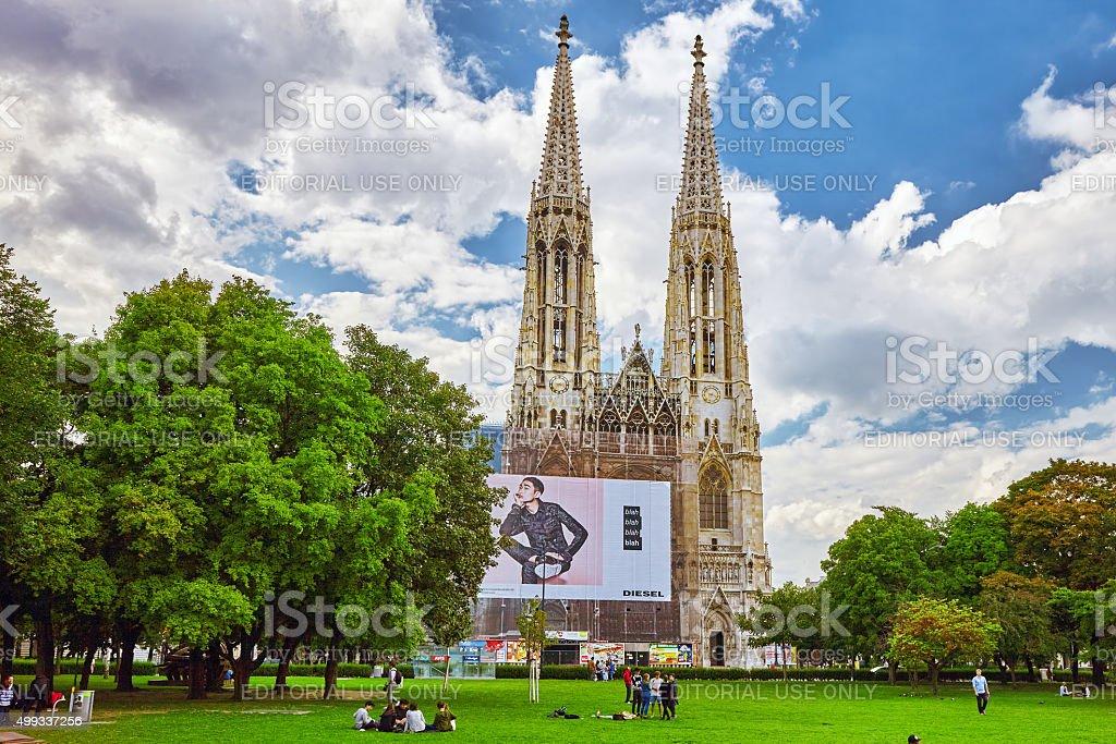 Votive Church is a neo-Gothic, Veinna. stock photo