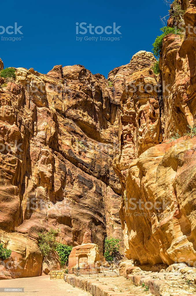 Votive niche at the Siq - Petra stock photo