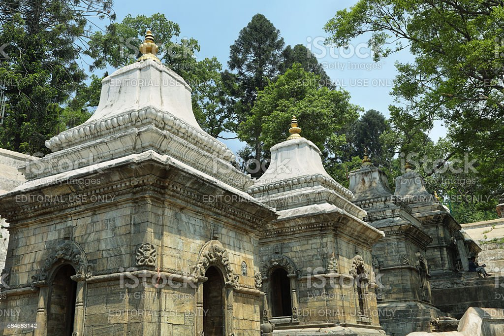 Votive temples in Pashupatinath Temple, Nepal stock photo