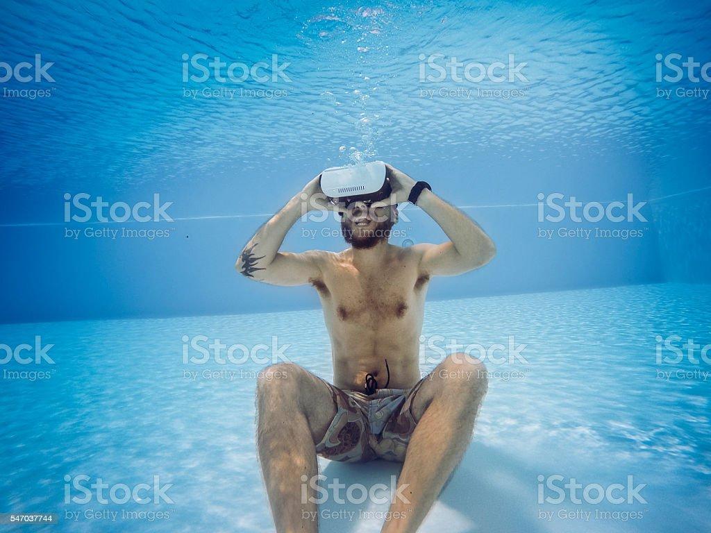 Vr headset sensory experience underwater stock photo
