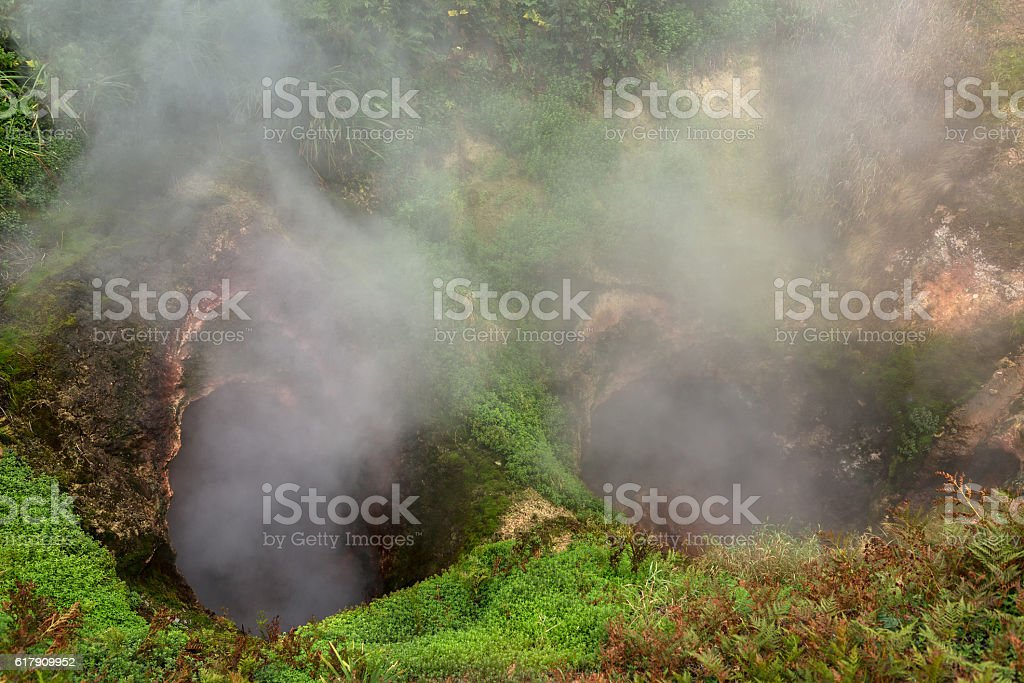 Vrata Ada Gate Hell Geyser in Valley of Geysers. stock photo
