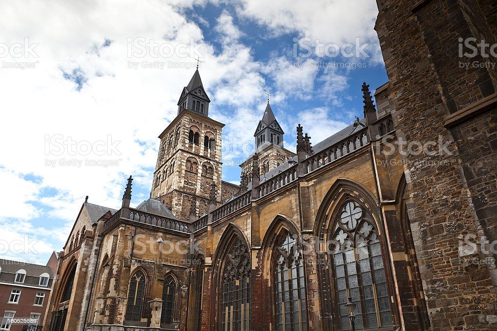 Vrijthof, Saint Servatius Basilica stock photo