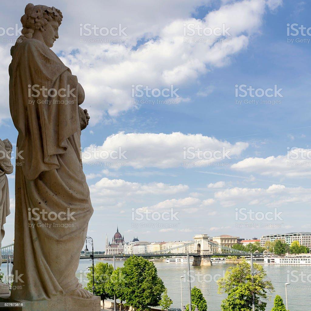 Várkert Bazaar, Chain Bridge and Hungarian Parliament in Budapest stock photo