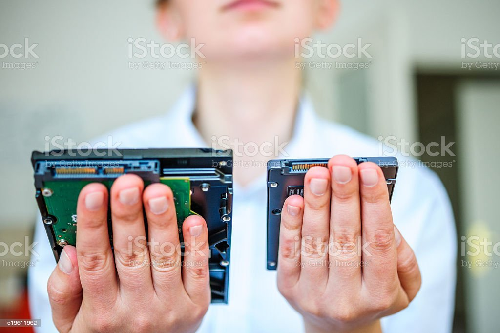SSD vs HDD it specialist support stock photo