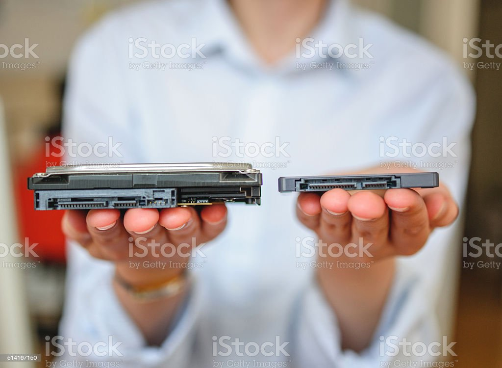 SSD vs HDD stock photo