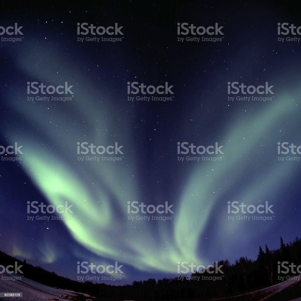 V-shaped aurora borelis arc royalty-free stock photo