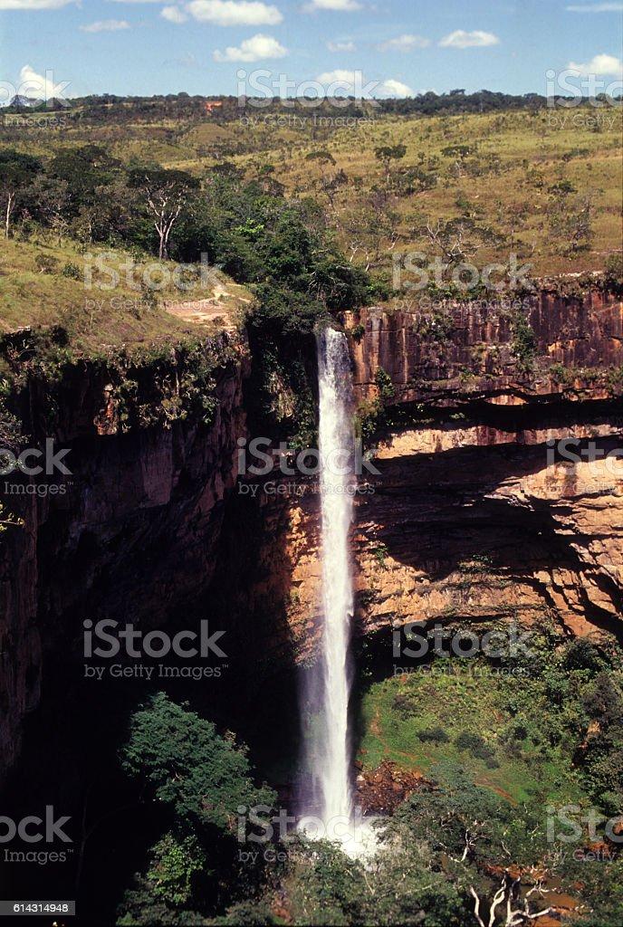 Véu de Noiva waterfall in the Chapada dos Guimarães, Brazil stock photo