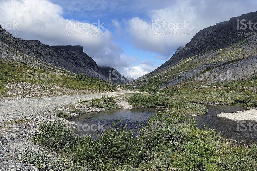 Vudyavrjok river in Khibiny Mountains, Russia stock photo