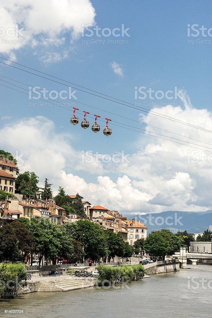 vue des quais de l'Isère à Grenoble stock photo