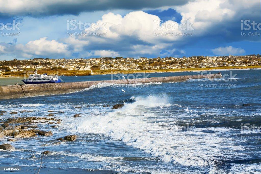 Vue sur Esquibien et vagues, Finistère, Bretagne stock photo