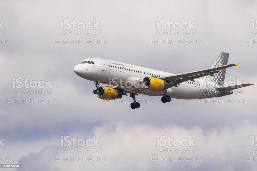 Vueling Airbus A320 lands at Heathrow stock photo