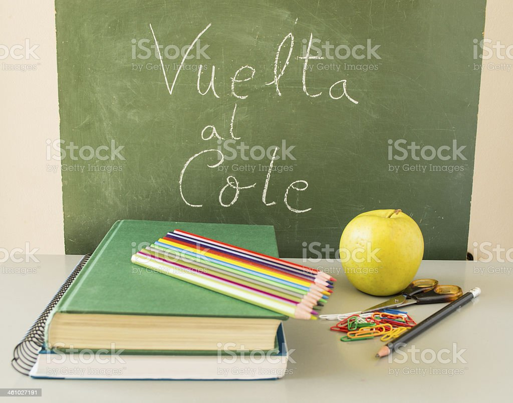 'vuelta al cole'  with food healthy royalty-free stock photo