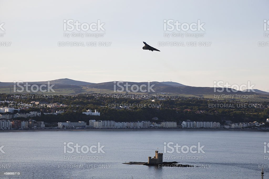 Vulcan over Douglas Bay stock photo