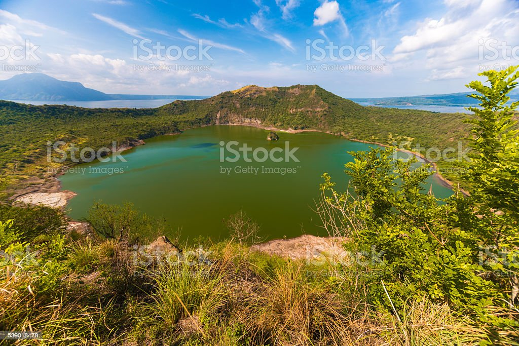 Vulcan Point Island and Crater Lake in Batangas, Philippines stock photo