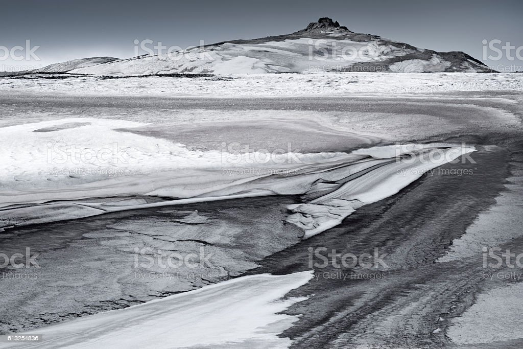Vulcanic landscape in winter, Iceland stock photo