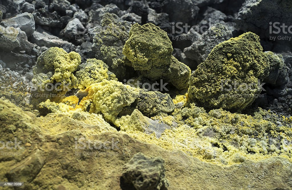 Vulcanic Rock Covered in Sulphur royalty-free stock photo