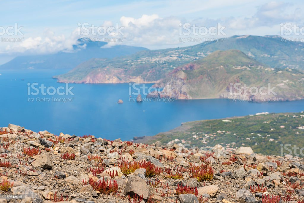Vulcano in Aeolian Island stock photo