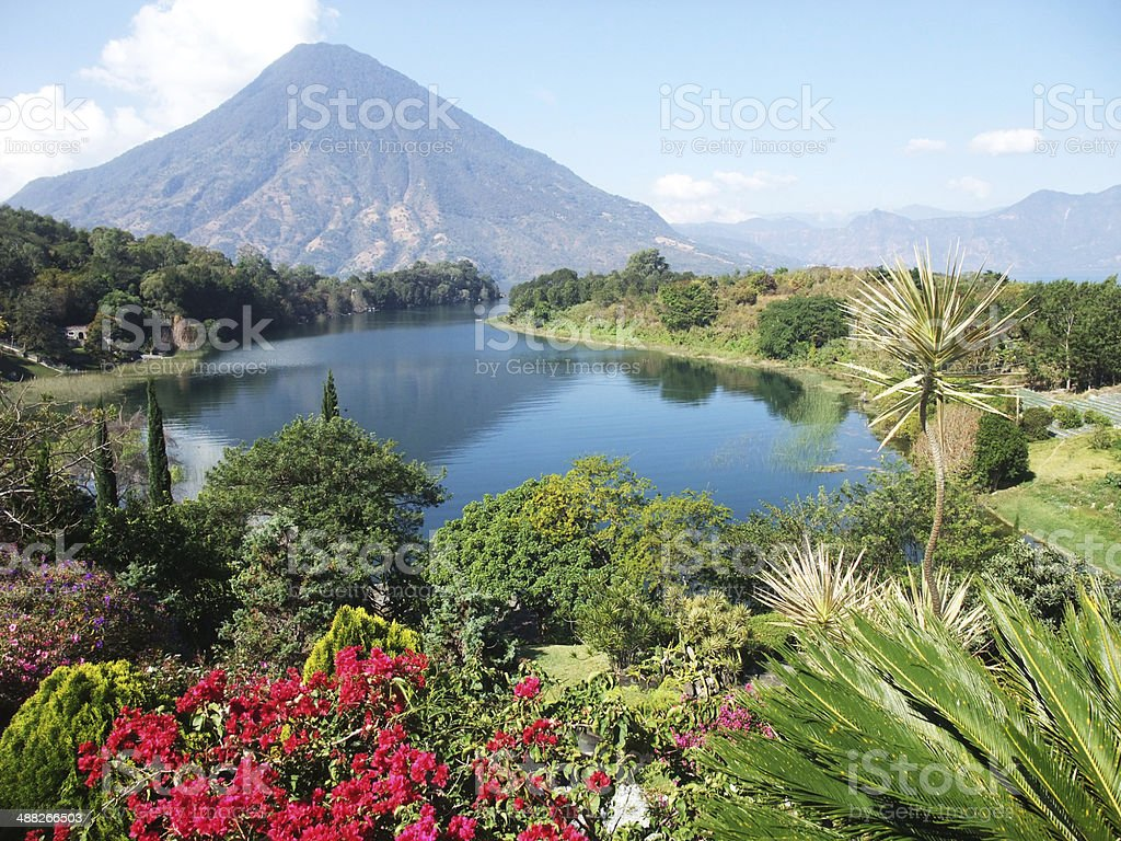 Vulcano Landscape in Guatemala Lake Atitlan stock photo