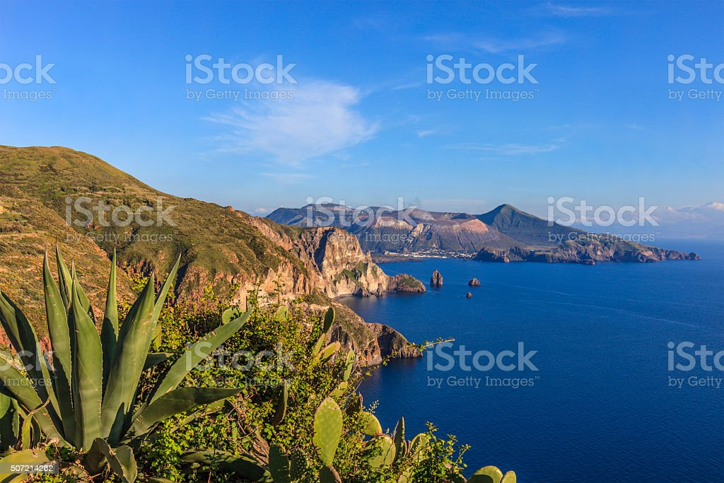 Vulcano seen from Lipari, Aeolian Islands - Sicily stock photo