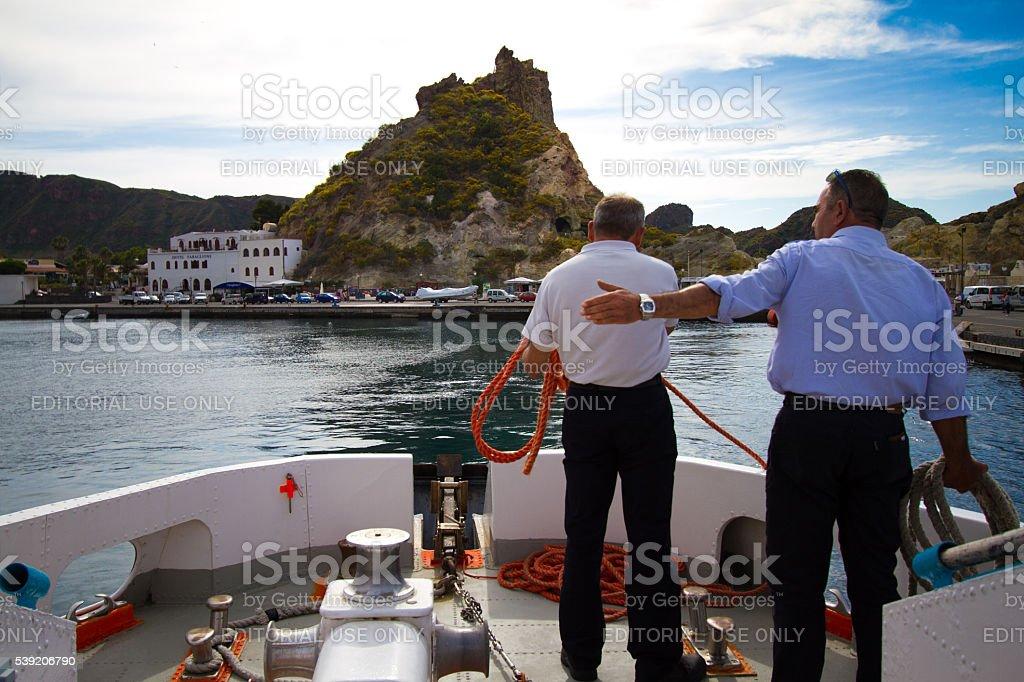 Vulcano, Sicily: Coming into Harbor stock photo
