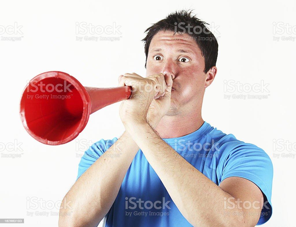 Vuvuzela blowing 2 stock photo