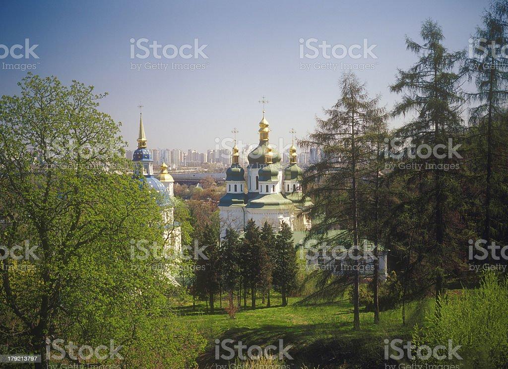 Vydubychi monastery in spring. Kyiv, Ukraine. royalty-free stock photo