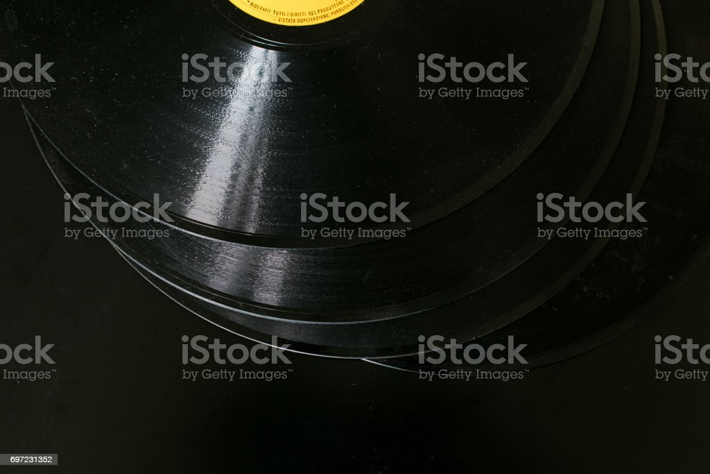3 Vynils, music tools stock photo