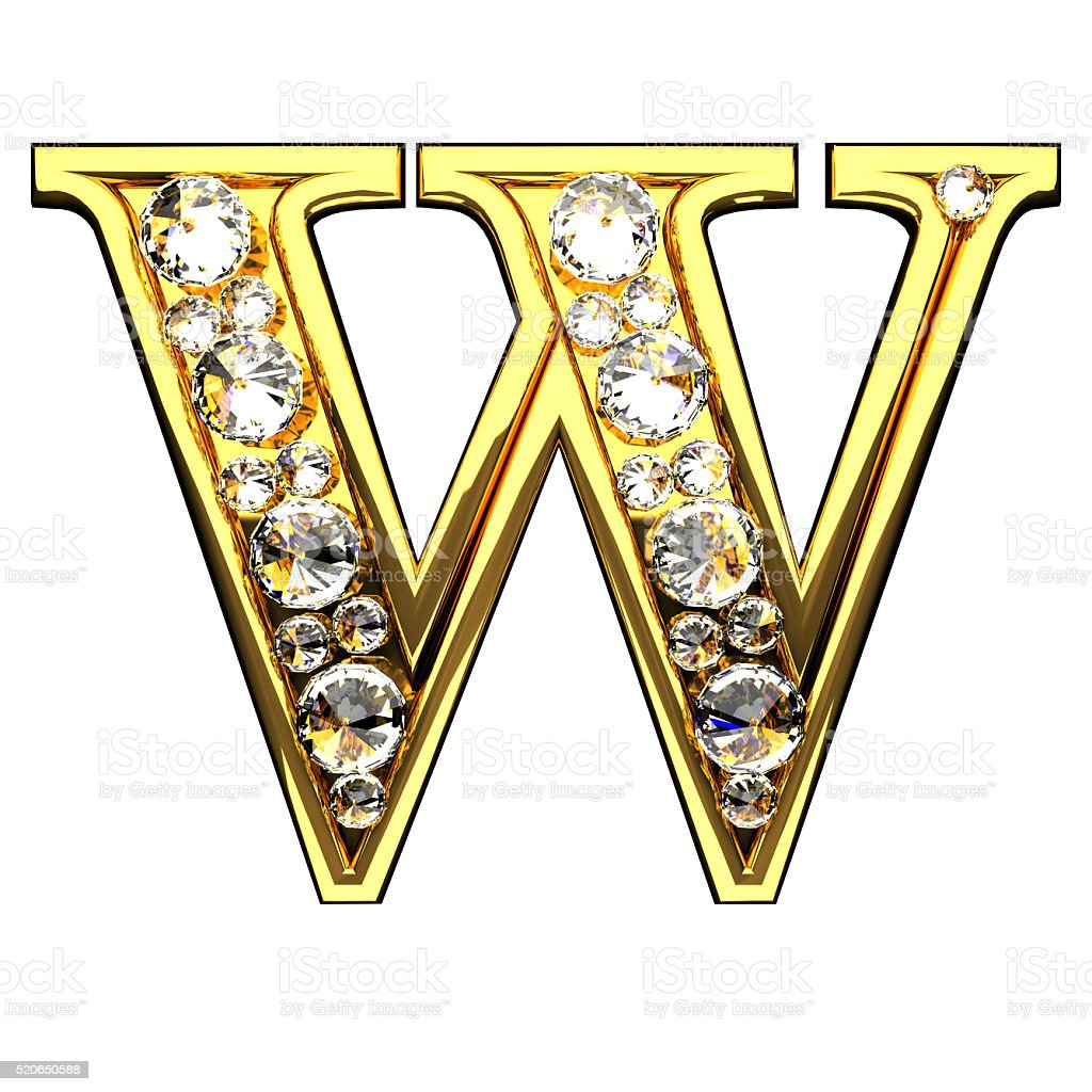 w isolated golden letters with diamonds on white stock photo