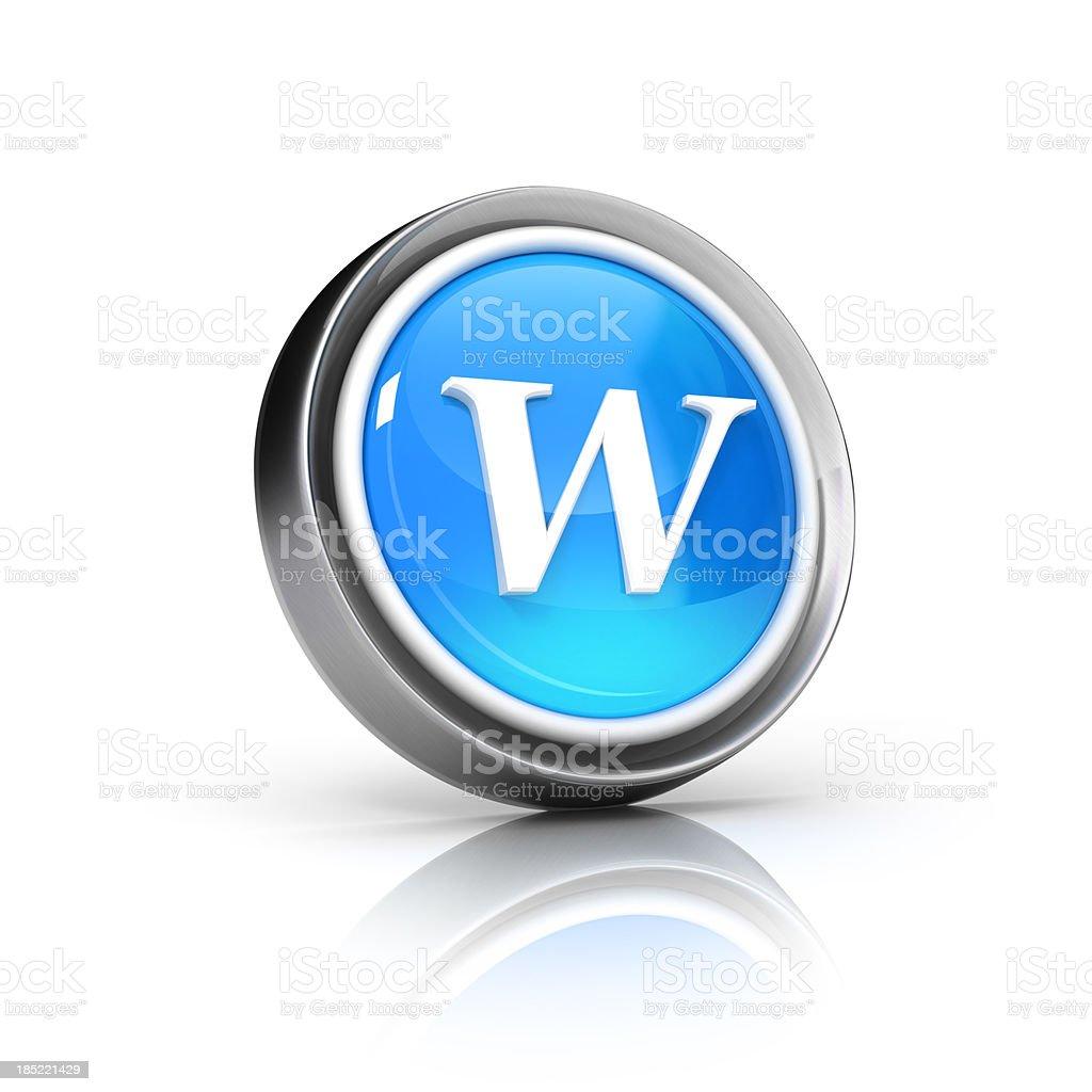 w letter icon stock photo