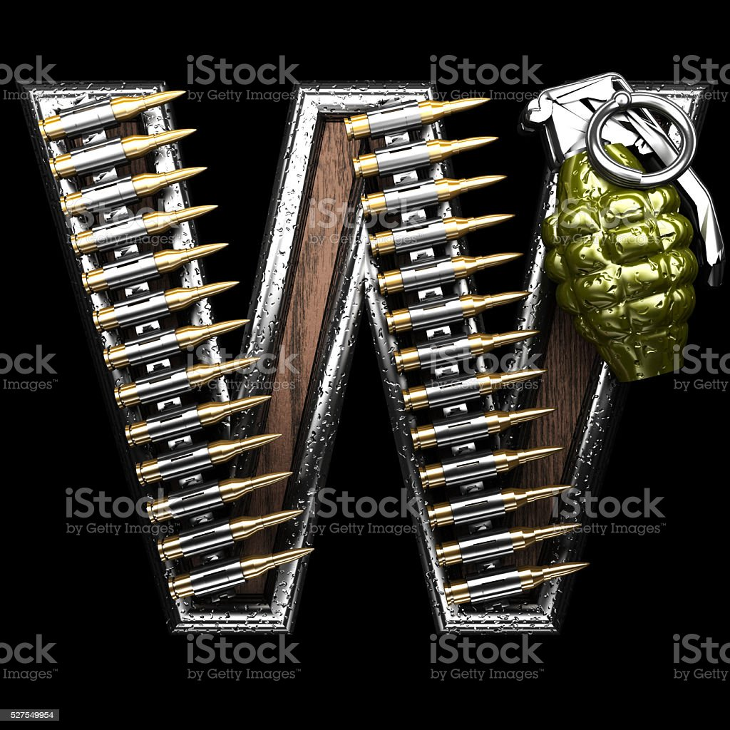 w military letter. 3D illustration stock photo