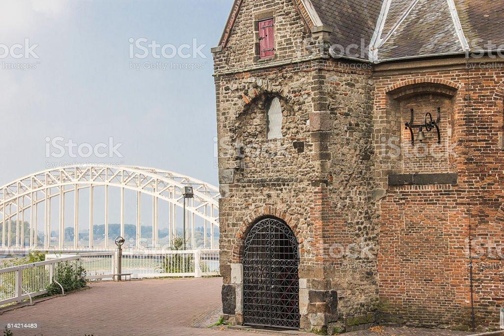 Waalbrug en Sint Nicolaas Church in the Valkhof in Nijmegen stock photo