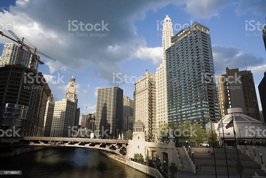 Wabash Avenue Bridge and Wacker Drive, Chicago stock photo