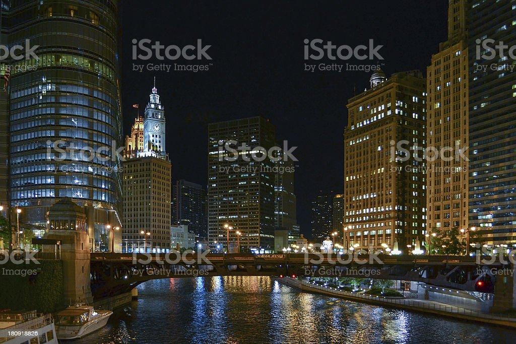 Wabash Avenue Bridge at Night royalty-free stock photo