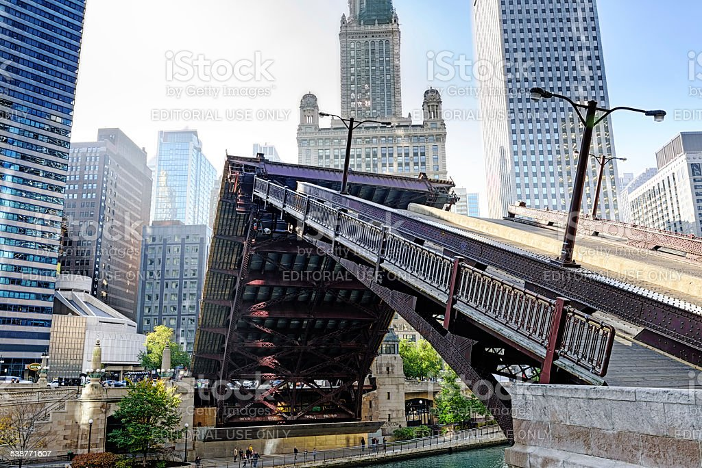 Wabash Avenue Bridge, half raised, across the Chicago River stock photo