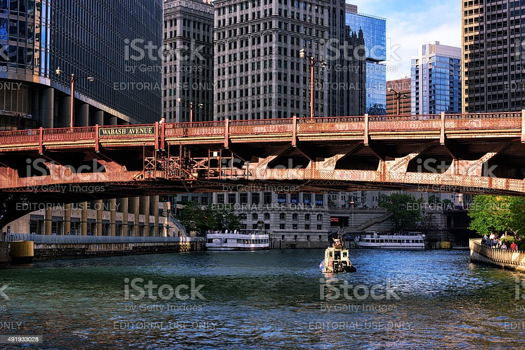 Wabash Avenue Bridge over the Chicago River stock photo