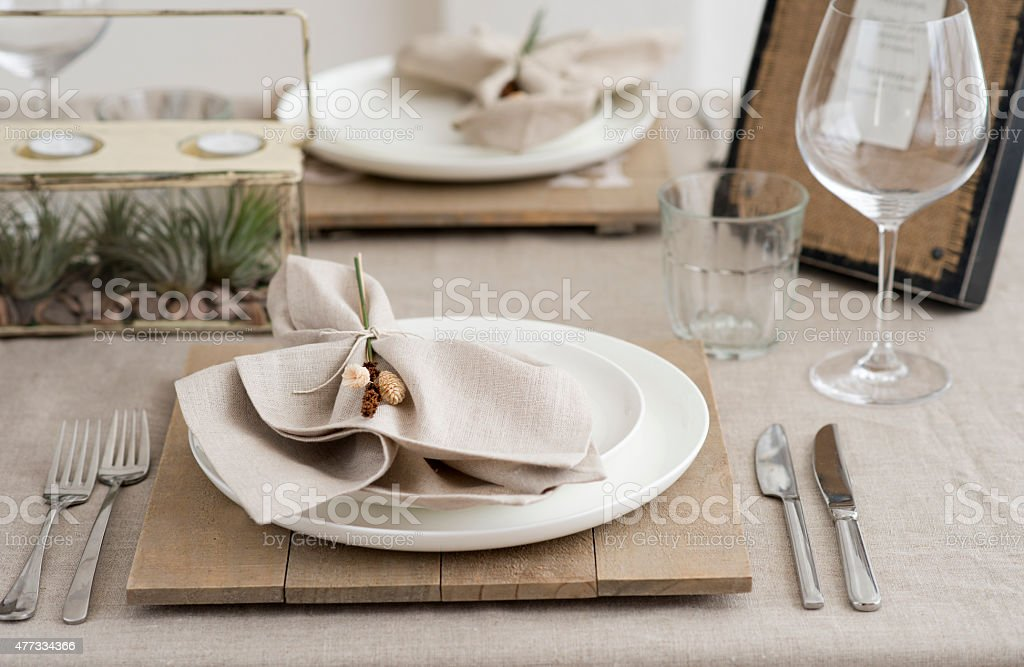 wabi sabi style table setting stock photo