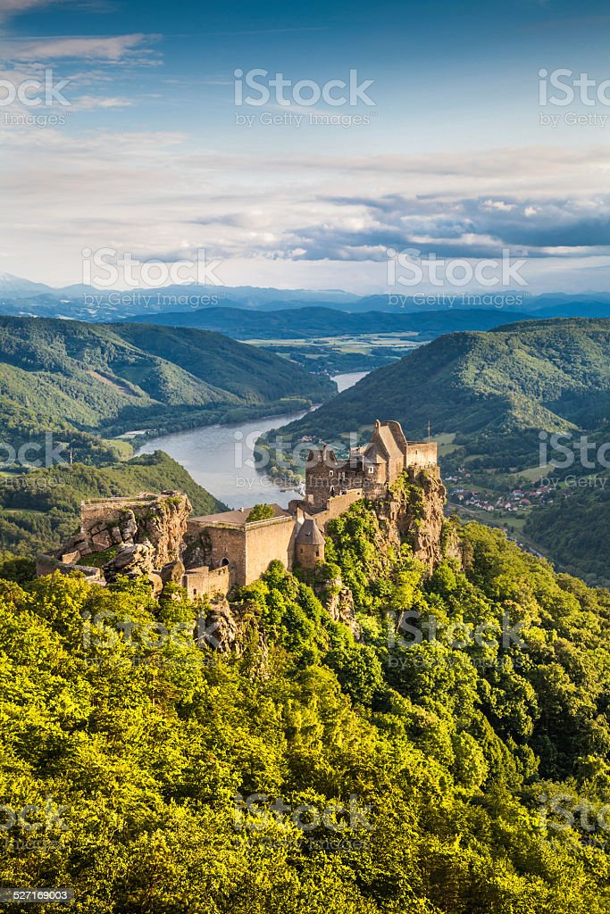 Wachau valley with castle ruin at sunset, Austria stock photo