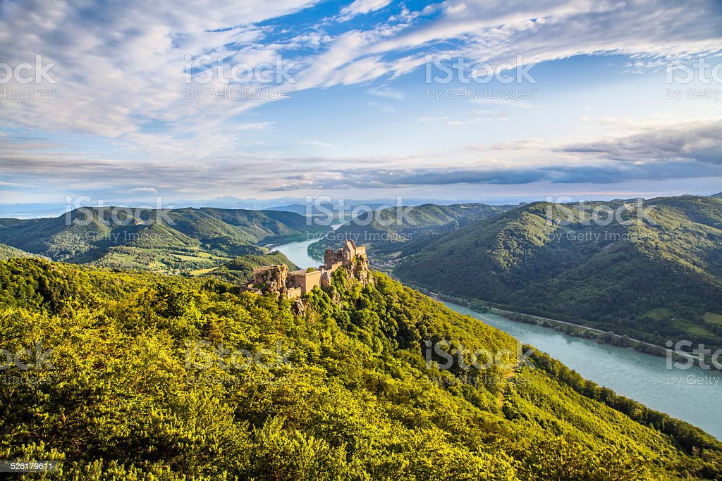 Wachau valley with Danube river and castle ruin, Austria stock photo