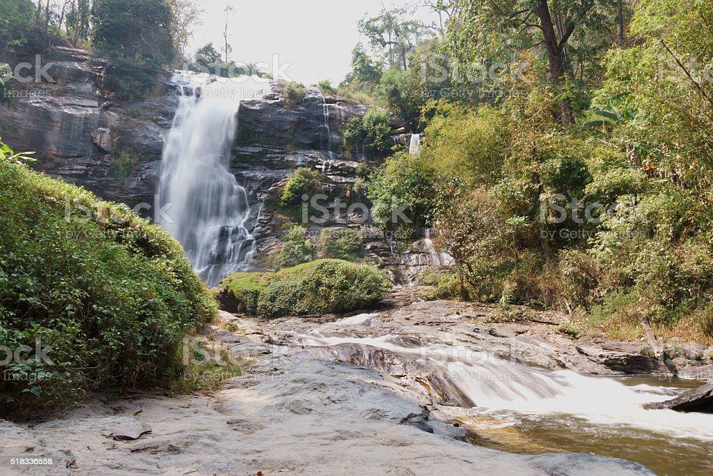 Wachirathan waterfal in Doi Inthanon stock photo