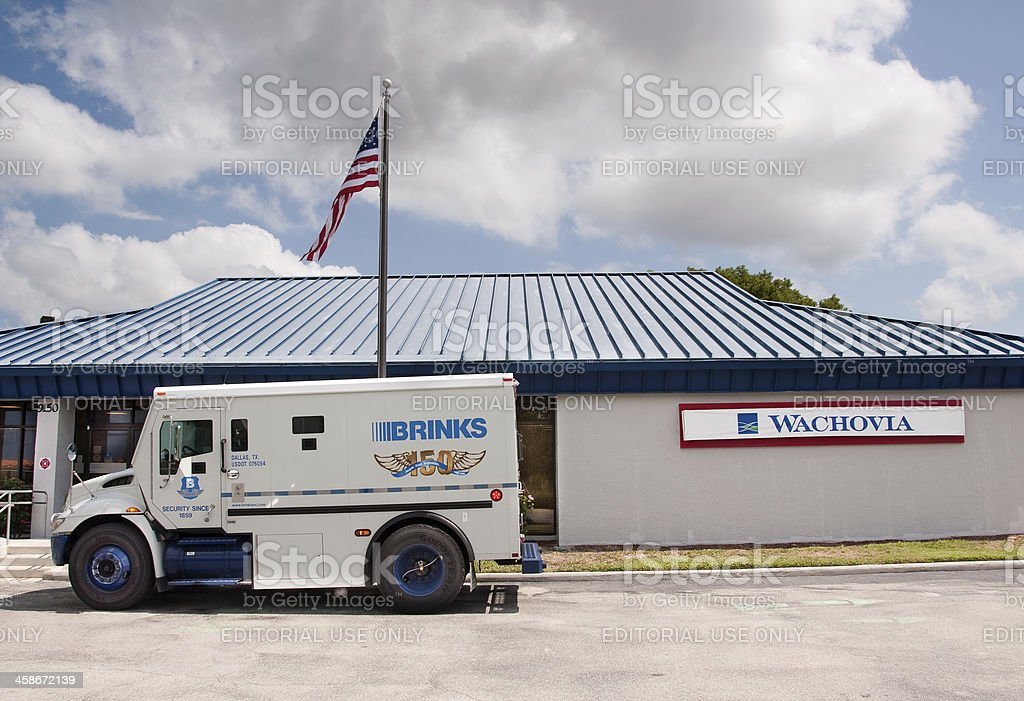 Wachovia Bank and Brinks armored truck stock photo